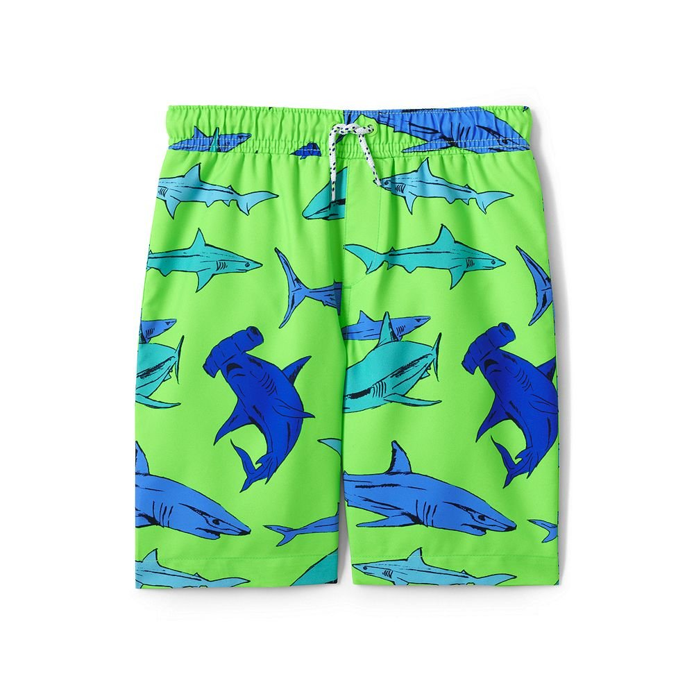 Lands' End Boys Printed Swim Trunks, L, Light Lime Sharks classic 4894192xx