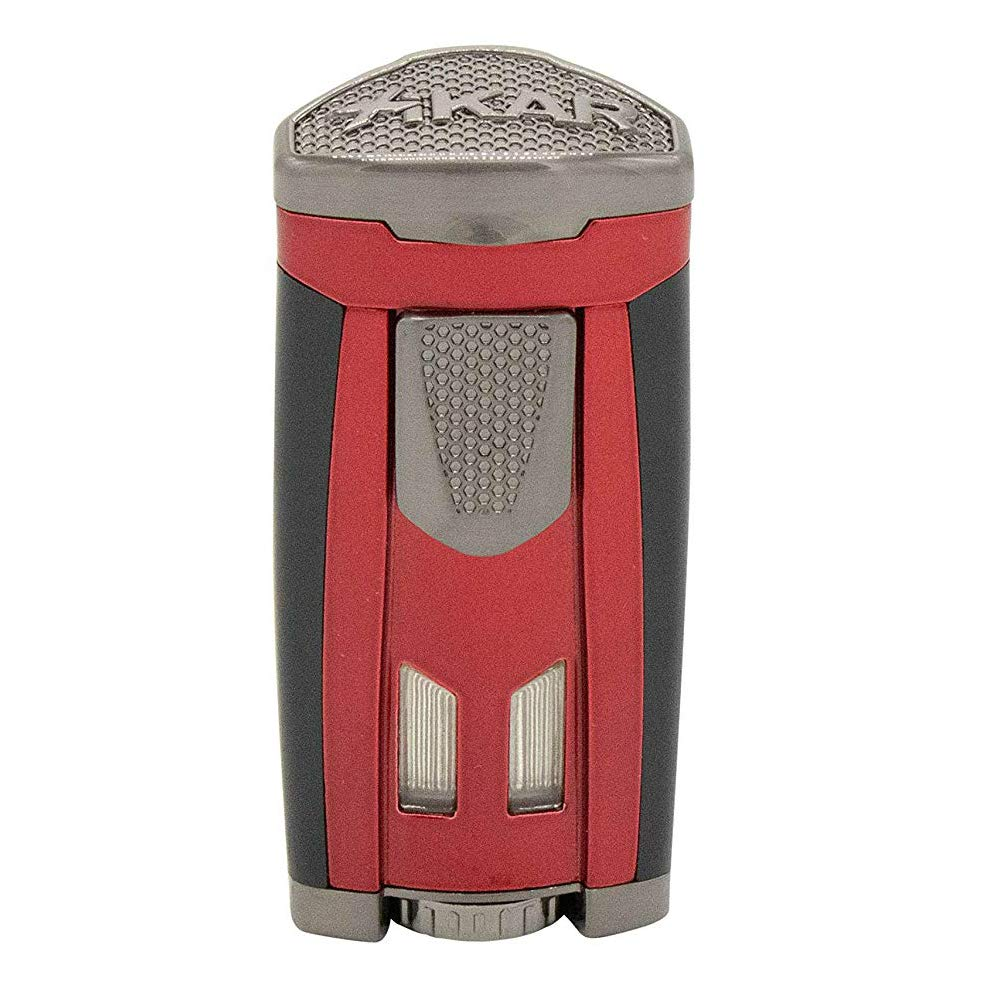 Xikar HP3 Inline Triple Flame Cigar Lighter, Attractive Gift Box, EZ-View Red Fuel Window, Honeycomb Texture, Lifetime Warranty, Daytona Red by Xikar (Image #1)