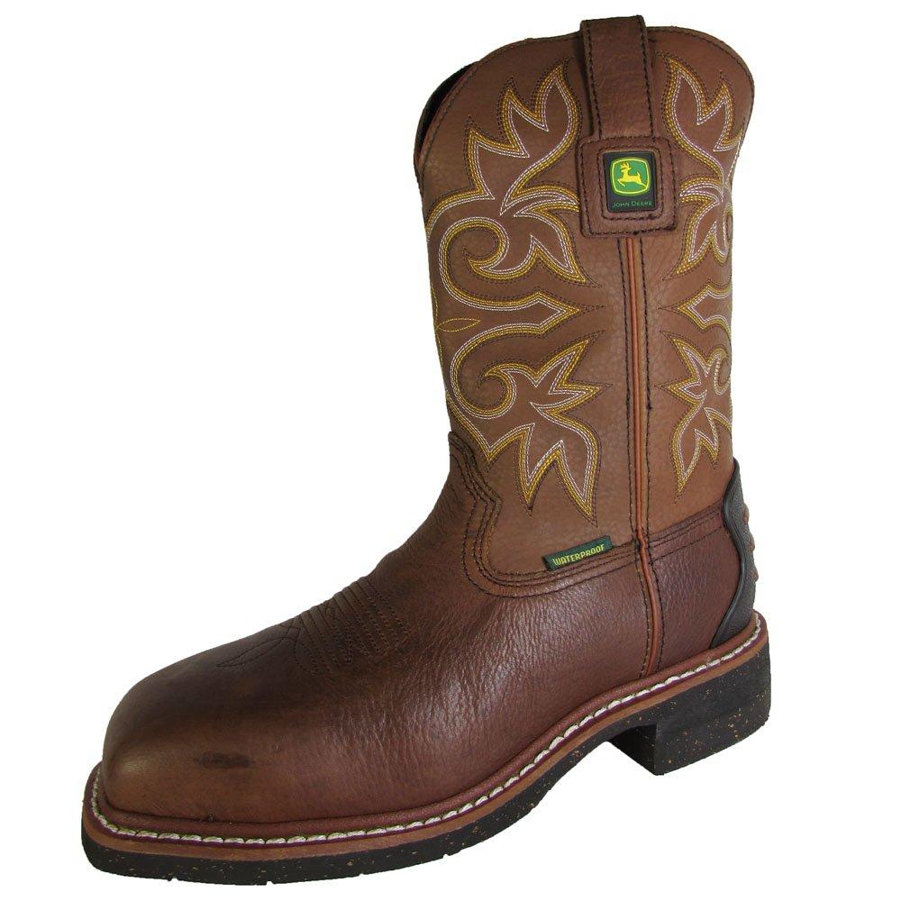 John Deere Mens JD4932 11'' Waterproof Pull On Boot Shoes, Brown Bear, US 8.5 W