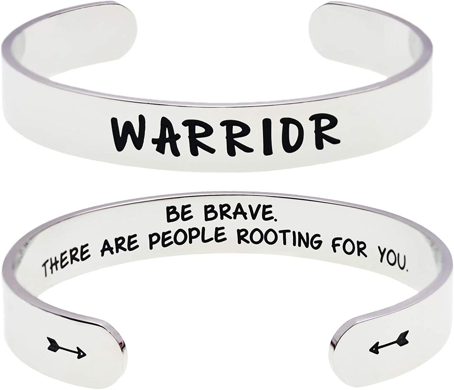 LParkin Inspirational Message Warrior Bracelet Jewelry Be Brave There are People Rotting for You Inspiration Chemo Sympathy Gift Message Bracelet