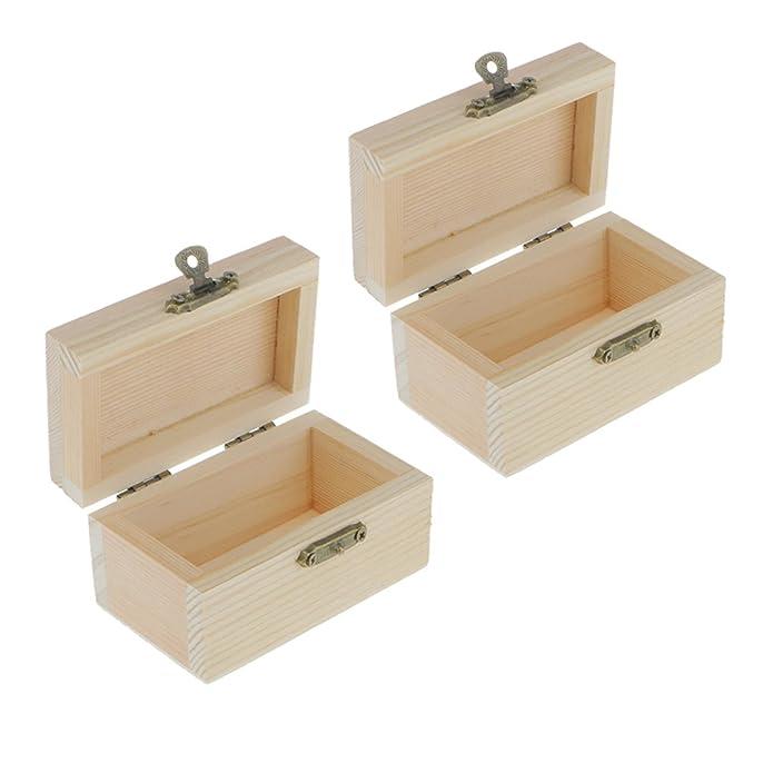 Amazon.com: homyl 2pcs sin terminar cajas de madera pequeña ...