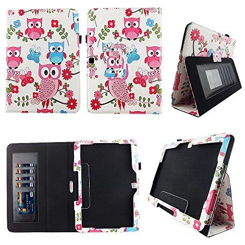 Pink Owl Butterfly Samsung Galaxy Tab 4 10.1 / Tab 4 Nook 10.1 Folio Case Slim Fit Premium Pu Leather Cover for Samsung Tab 4 10 Inch / Tab 4 Nook 10 Inch Tablet w Auto Sleep/Wake Stylus Holder ID Slo