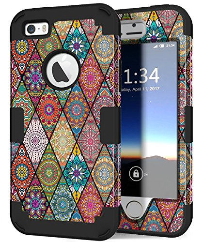 iPhone 5s Phone Case, Hocase Drop Protection Shockproof Silicone Rubber Bumper+Hard Shell Hybrid Dual Layer Full-Body Protective Case for Apple iPhone 5/5s/SE - Mandala Flowers / Black
