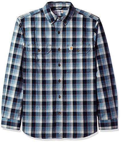 Carhartt Men's Fort Plaid Long Sleeve Shirt, Steel Blue, Large by Carhartt