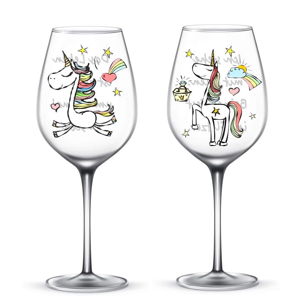 Einhorn Weingläser/Cocktailgläser mit Sprüchen