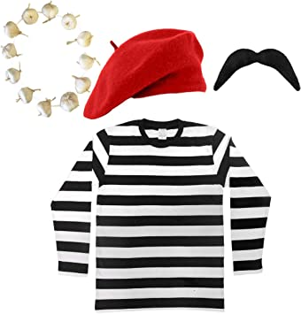 Fancy Dress Mens Traditional French Costume 5Pc Onions Beret Red Scarf T-Shirt