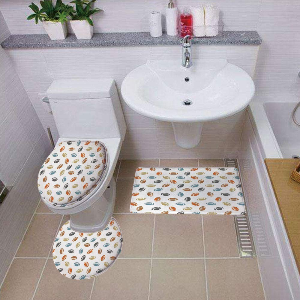 Bath mat set Round-Shaped Toilet Mat Area Rug Toilet Lid Covers 3PCS,Football,Colorful Balls in Retro Style National Sports College Team Field Game Touchdown,Multicolor ,Bath mat set Round-Shaped Toil
