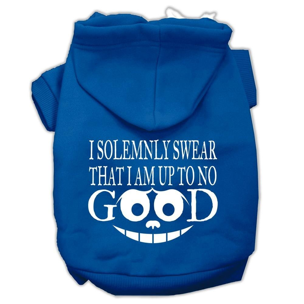 bluee XX-Large bluee XX-Large Mirage Pet Products 18  Up to No Good Screen Print Pet Hoodie, XX-Large, bluee
