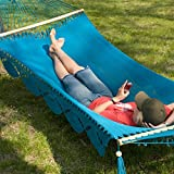 Large Grand Caribbean Nicaraguan Hammock with Spreader Bar and Fringe Natural (Aqua)