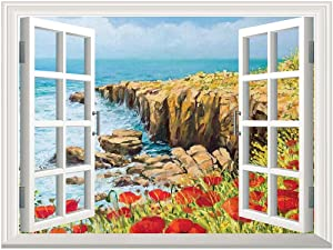 Flower Removable Canvas Wall Sticker,Coastal Seascape and Poppies on The Cliffs High Above The Bay Image Print Canvas Poster Wall Decor,Adhesive Canvas Painting,Red Peach Dark Green,24