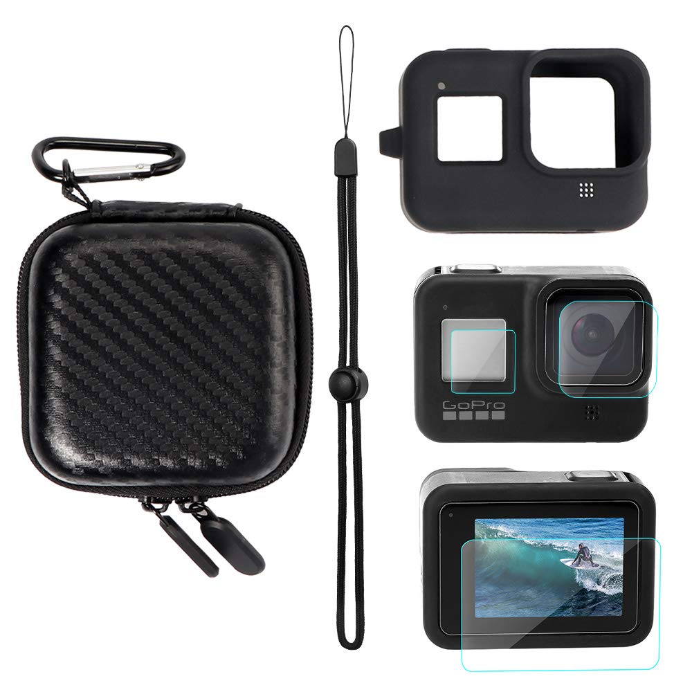 YSTFLY Portable Protective Carry Case for GoPro Hero 8, Silicone Protective Cover Case and Lens Film for GoPro Hero 8 Black
