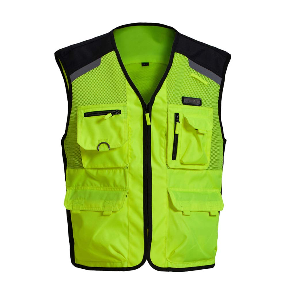 TZTZD Professional Safety Motorcycle Vest High Visibility Jacket Fluorescent Crease Resistant Reflective Strips Zip with Large Pockets,XXL(70~80KG) by TZTZD (Image #2)