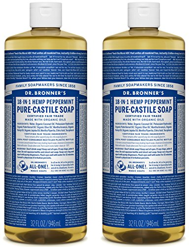Dr. Bronner's Pure-Castile Soap - Peppermint, 32 oz (Pack of 2) (Peppermint Scented Shampoo)