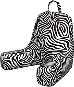 Ambesonne Stripes Reading Cushion with Back Pocket, Zebra Skin Pattern with Abstract Lines Monochrome Wild Animal Hide Design, Pillow for Bed Rest Gaming, Small, White and Black