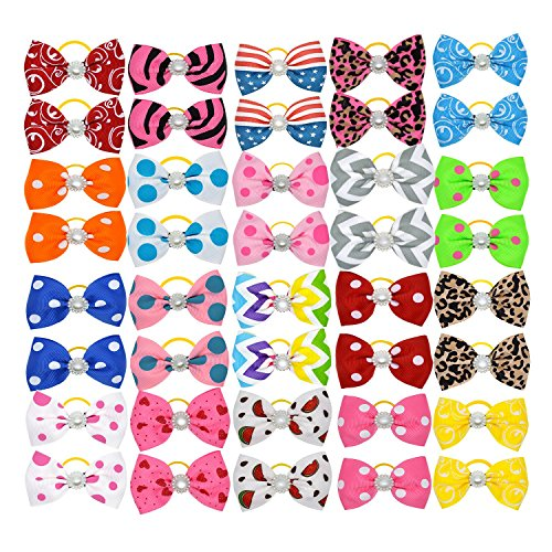 YCSJPET 40pcs Small Dog Cat Hair Bows with Rubber Bands, Pet Puppy Kitten Headdress Grooming Accessories Set for Pet Shows Pet Party GREENENQI (Super Bowl Party Dress)