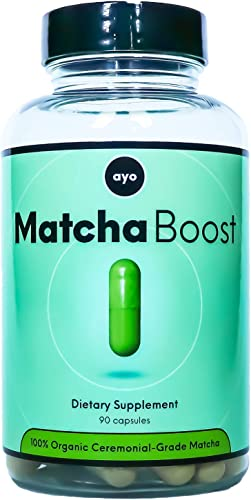 Matcha Pills – Ceremonial Grade Organic Japanese Matcha Vitamin B12 – Convenient Daily Superfood Antioxidants, Energy, Metabolism Support, Wellness – 90 Matcha Capsules 2250mg serving – Matcha Boost