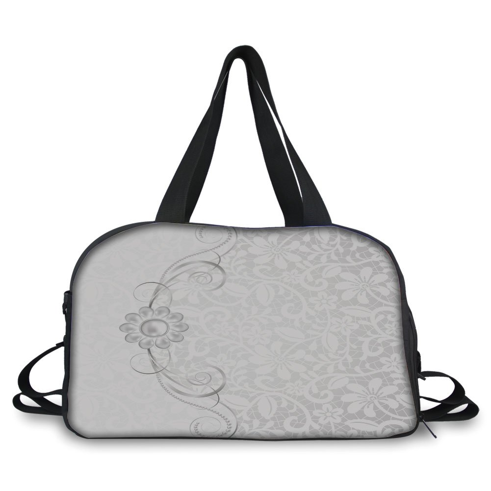 iPrint Travelling bag,Silver,Lace Inspired Flourish Motifs Background with Bridal Flower Border Wedding Theme,Silver White ,Personalized