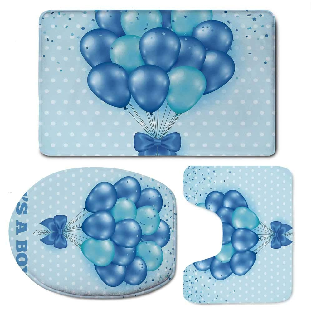 YOLIYANA Gender Reveal Decorations Soft Bathroom 3 Piece Mat Set,Balloons on Nostalgic Polka Dots Backdrop Childbirth Celebration for Home,F:20'' W x31 H,O:14'' Wx18 H,U:20'' Wx16 H