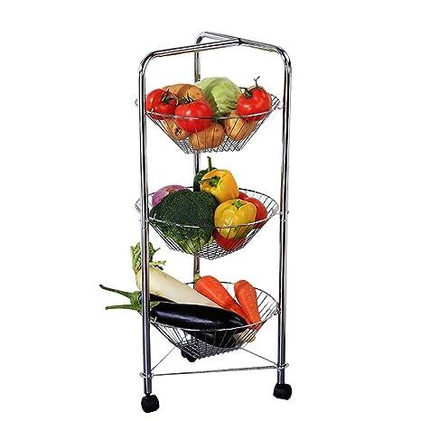 Carro de almacenaje para cocina de 3 niveles Carro para almacenaje de fruta para estantería ...