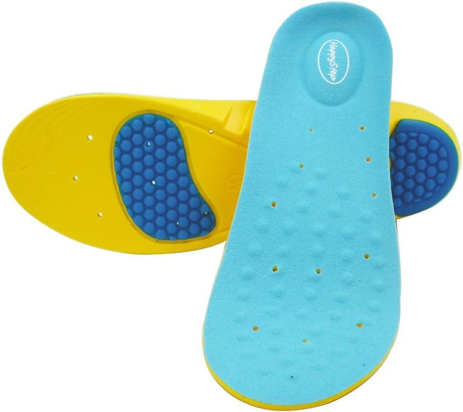 HappyStep® Plantillas de gel con excepcional absorción de impactos y amortiguación en el metatarso y el talón al caminar o correr (Talla M: 38-41 UE)