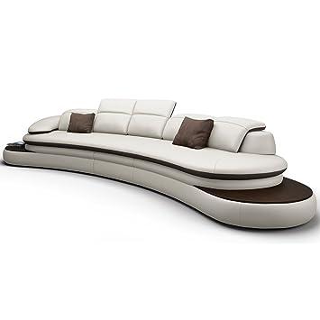 Big Sofa Xxl Couch Leder Pisa Rundsofa Wohnlandschaft Teilleder