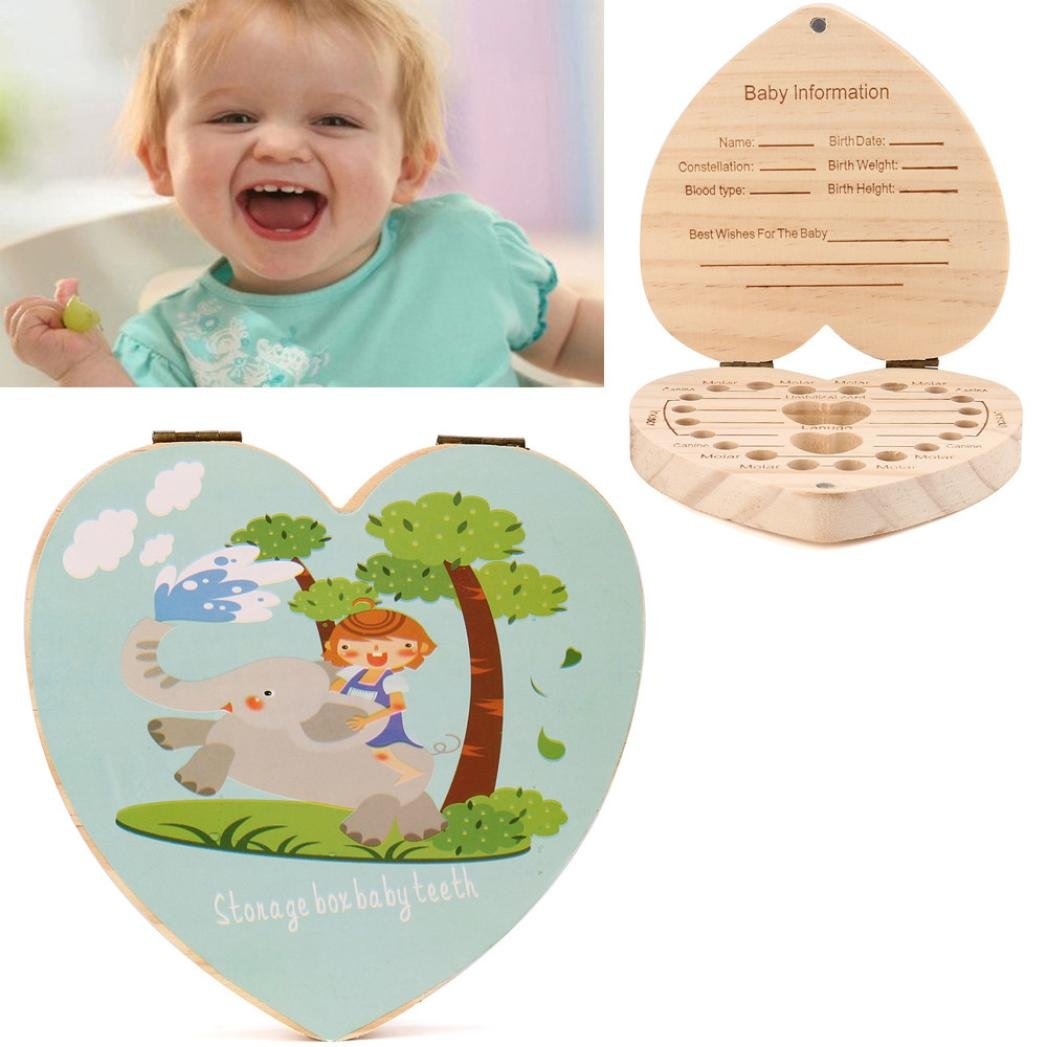 Gbell Baby Tooth Box,Kids Milk Teeth Save Personality Pine Souvenir Box for Kids Boy&Girl (C)