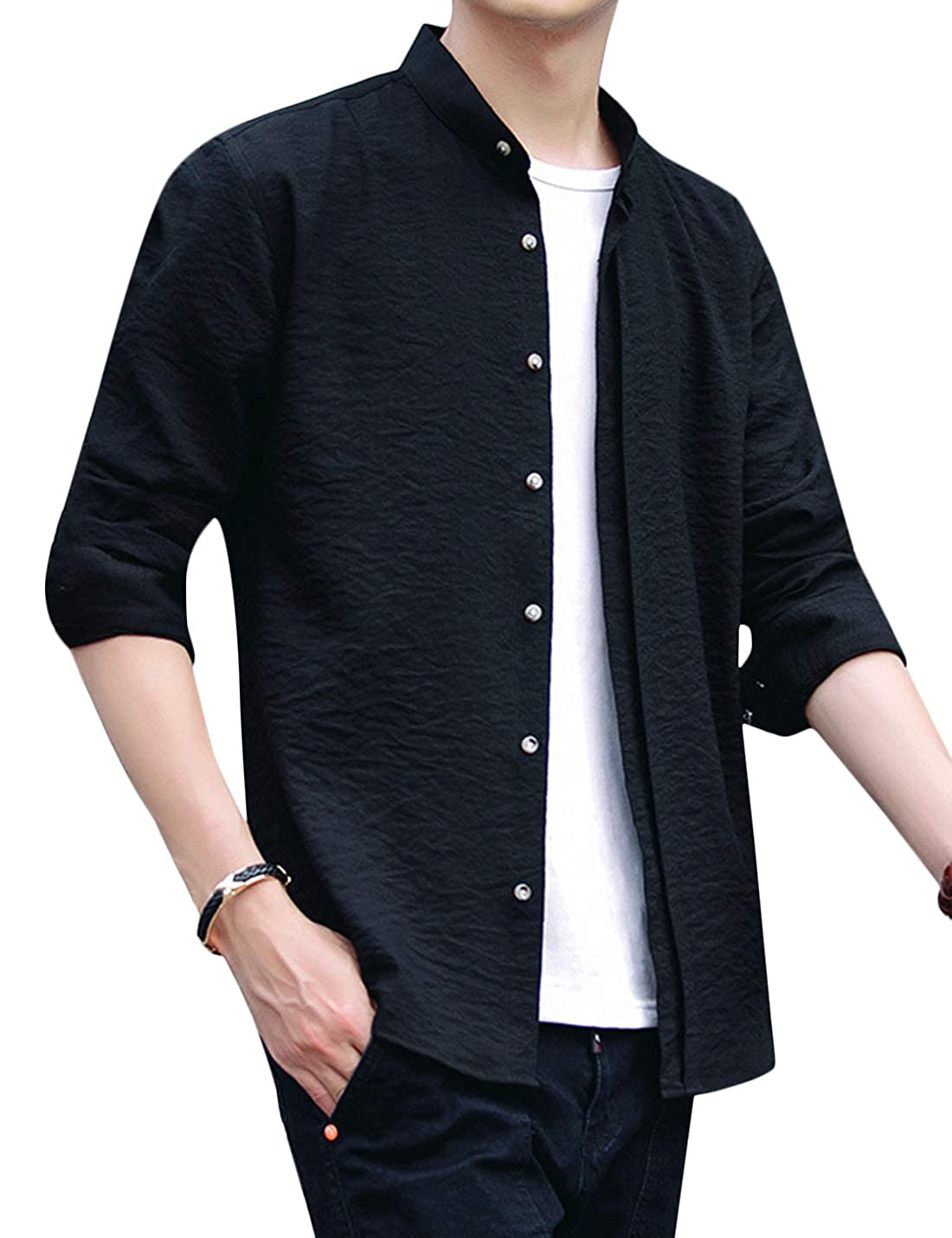 Tanming Mens Autumn Casual Regular-Fit Long Sleeve Stand Collar Button Down Shirt