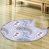 Non Slip Kid's Carpet Round Area Rugs Mat,Bedroom Carpet Circular Carpet Machine Washable Rugs Mat,Round Mats&Home Carpet For Room decoration-Multi- Round 47.3″(Seamless flora pattern with s and s) Review