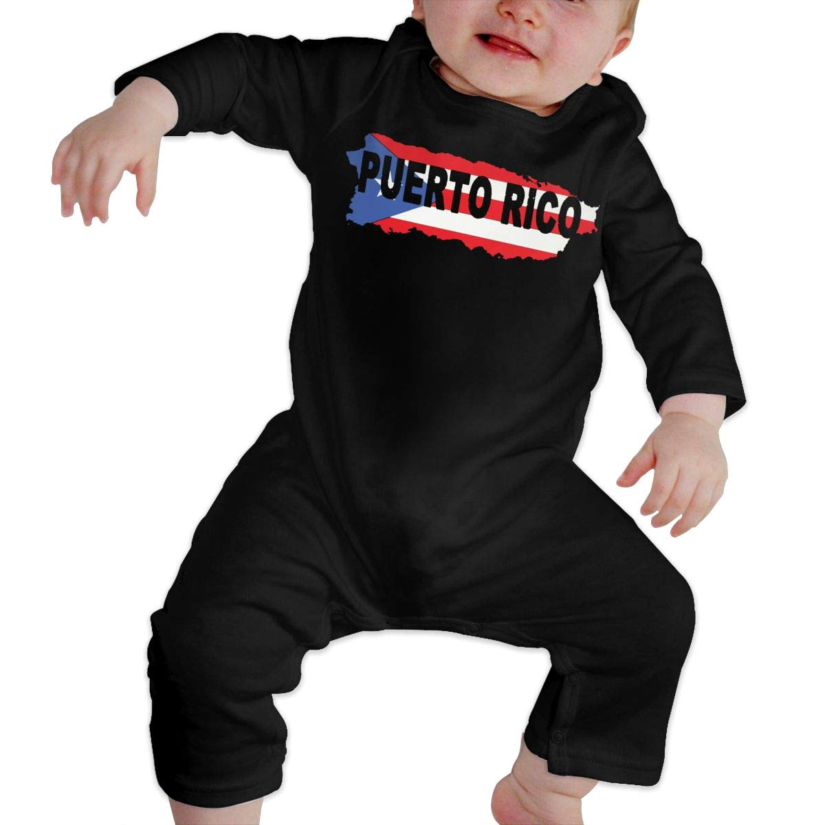 Puerto Rico Flag Map Strong Baby Boy Long Sleeve Romper Jumpsuit Bodysuits