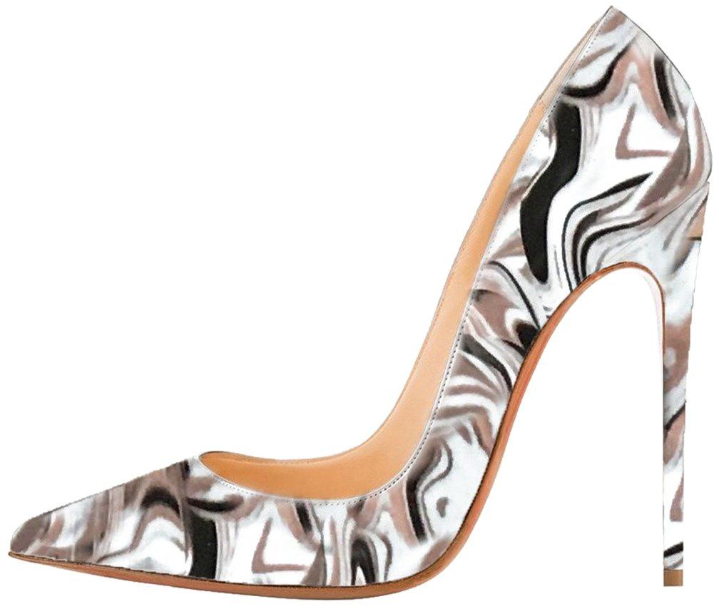 Calaier Mujer Caexpensive Tacón De Aguja 12CM Sintético Ponerse Zapatos de tacón 43 EU|Varios colores
