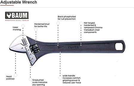 "J795G PROTO Steel Adj Wrench Set,8/"",10/"",12/"",Chrome,3 Pc."
