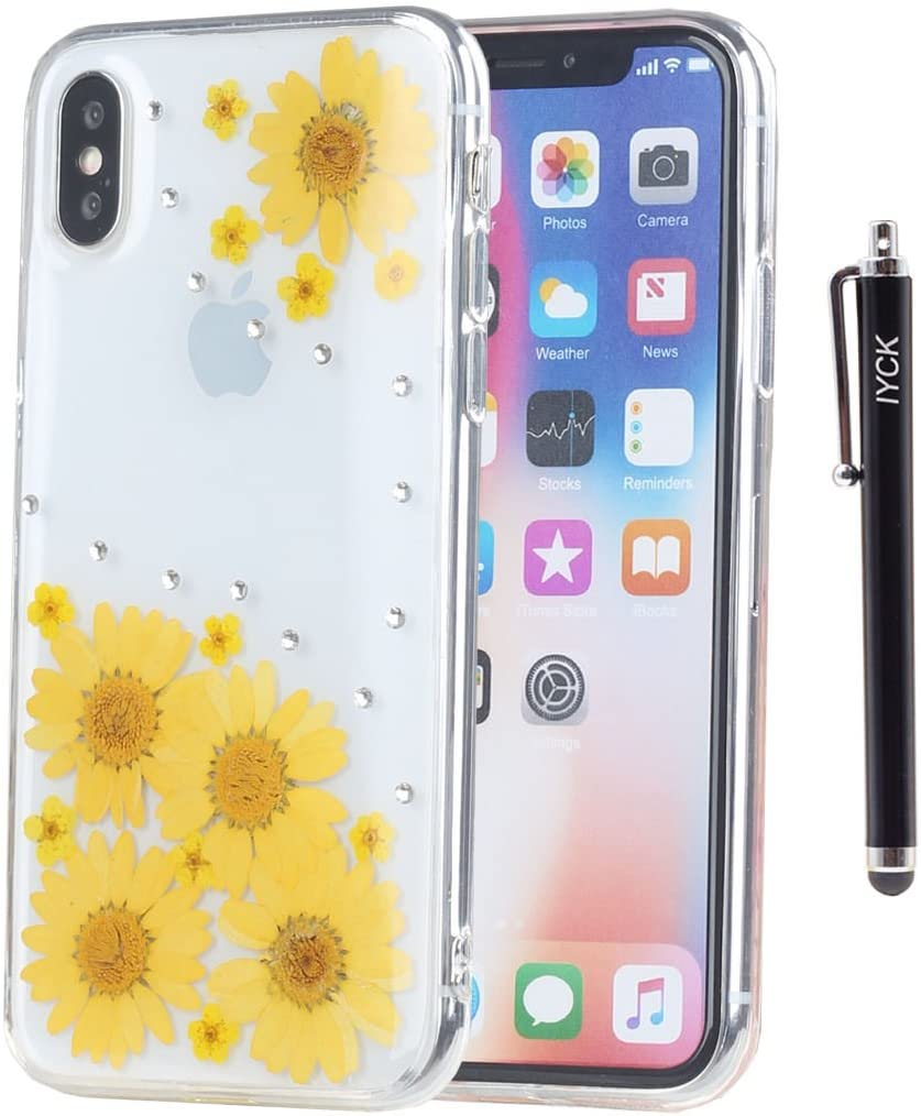 iPhone X Case, iPhone Xs Case, iYCK Handmade [Real Dried Flower] Pressed Floral Bling Crystal Rhinestone Didamond Flexible Soft Rubber Gel TPU Cover Case for iPhone X/Xs 5.8inch - Yellow