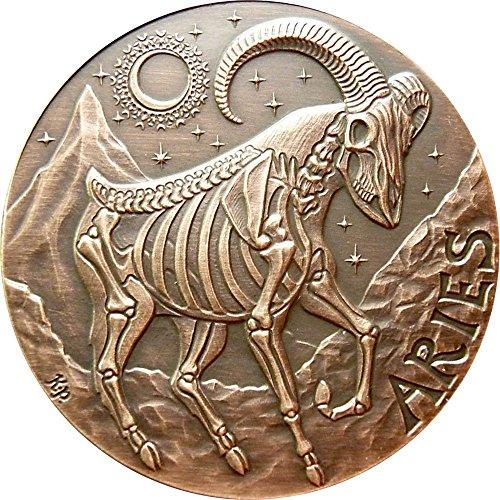 2015 United States Skullcoins ARIES Memento Mori Zodiac Skull Horoscope Copper Coin 2015 Antique Finish
