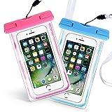 Waterproof Phone Bag, Aupek  2 Pack Universal Snow Dust Water Proof Cases with Black Necklace for HTC, iPhone 7 plus, Samsung, LG, Mtotorola, Nexus (Pink Blue)