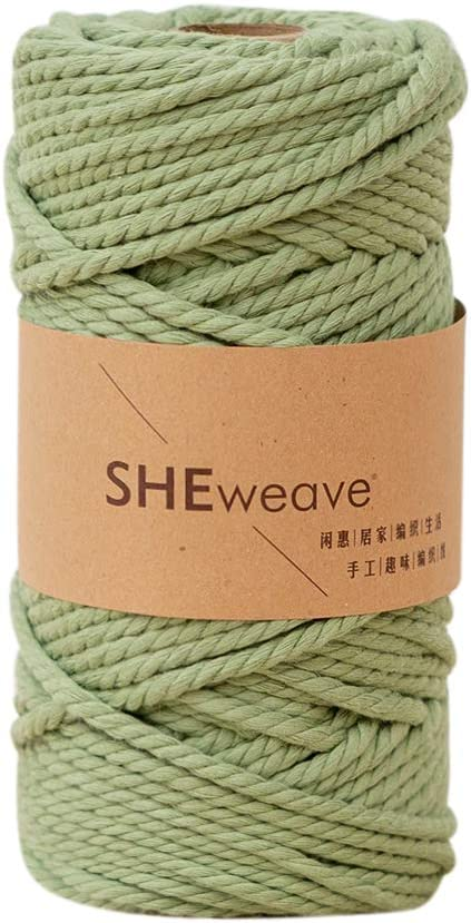 Macrame Cord 4mm,100% Natural Cotton Macrame Rope Cotton Cord, Perfect Macrame Supplies for Wall Hanging,Plant Hangers,Crafts, Knitting, Decorative Projects (4mmx54yd, Green)