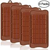 Break Apart Chocolate, SourceTon 4 piezas aprobado por la FDA calidad alimentaria antiadherente barra de energía y moldes de proteínas
