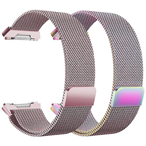 Fitbit Ionic Bands, hooroor Fully Magnetic Closure Clasp Mesh Loop Milanese Stainless Steel Ionic Band for Fitbit Ionic Smartwatch (2-Pack Rose Pink+Colorful, Small: 5.5