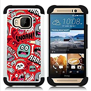 GIFT CHOICE / Defensor Cubierta de protección completa Flexible TPU Silicona + Duro PC Estuche protector Cáscara Funda Caso / Combo Case for HTC ONE M9 // Cartoon Text Red Teal Poster //