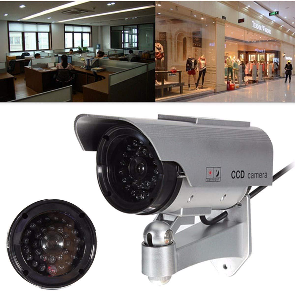 DELAMZ - Simulation Camera Solar Power Dummy Camera Outdoor CCTV Surveillance Camera With LED Light by DELAMZ