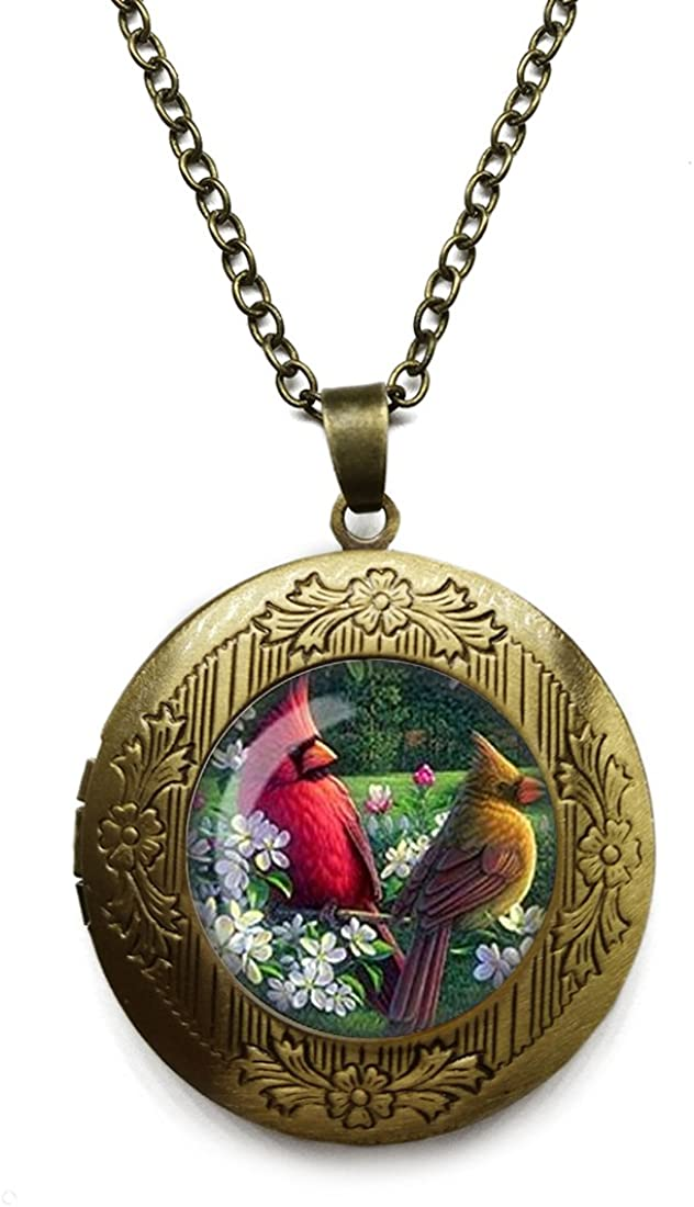 Vintage Bronze Tone Locket Picture Pendant Necklace Vintage Parrot Pendant Included Free Brass Chain Gifts Personalized