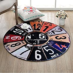 Imoerjia Retro Wall Clock Round Mats 60Cm, Diameter 60Cm Circle (Contact Customer Service Have Been Pleasantly Surprised), Retro License Plate Wall Clock