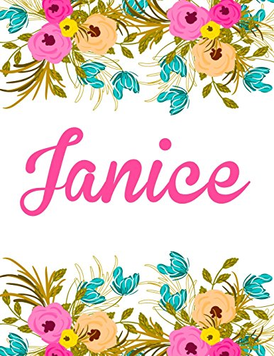 Janice  Personalised Name Notebook Journal Gift For Women   Girls 100 Pages  White Floral Design