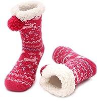 MaaMgic Calcetines Antideslizante Niño Niña Tejer Doble Lana Calcetines de Casa Invierno Regalo de Navidad