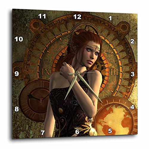3dRose Heike Köhnen Design Steampunk – Beautiful steampunk women, clocks and gears – Wall Clocks