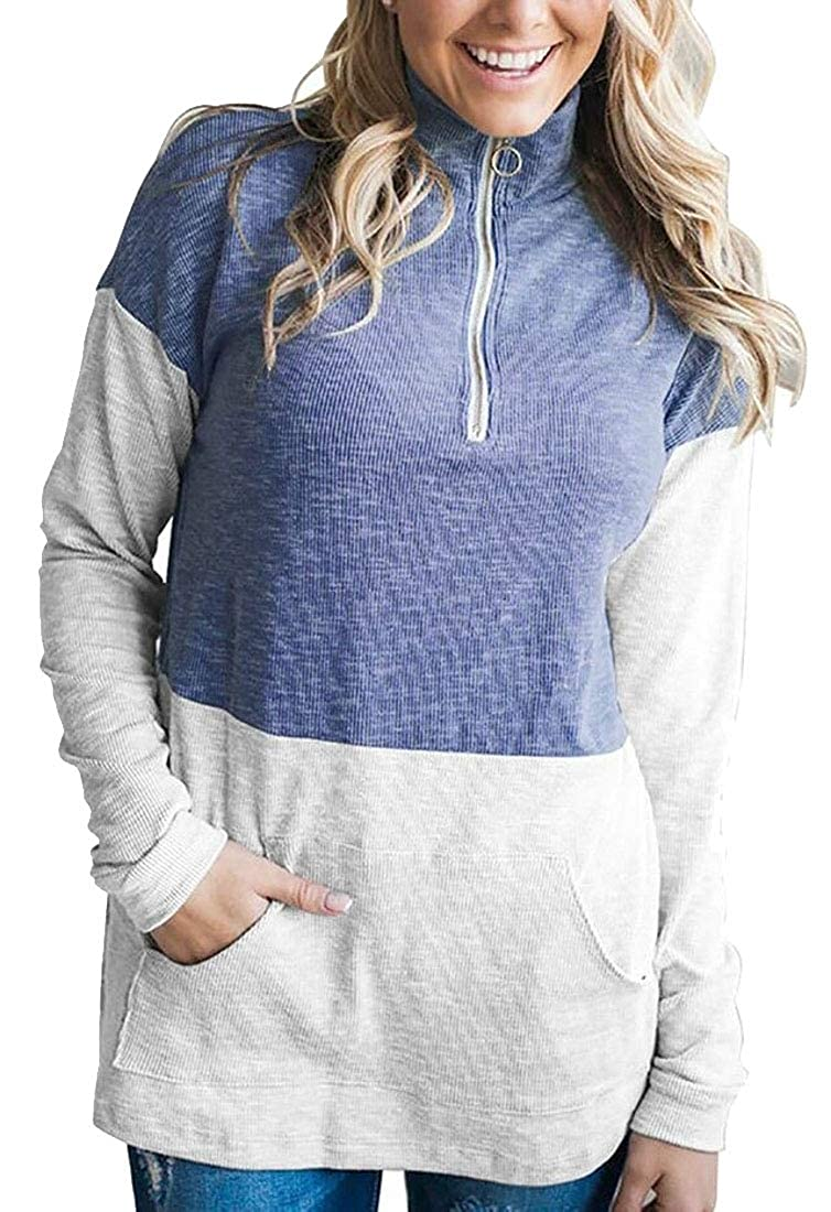 WSPLYSPJY Womens Front-Zip Pockets Color Stitching Loose Casual Pullover Sweatshirts