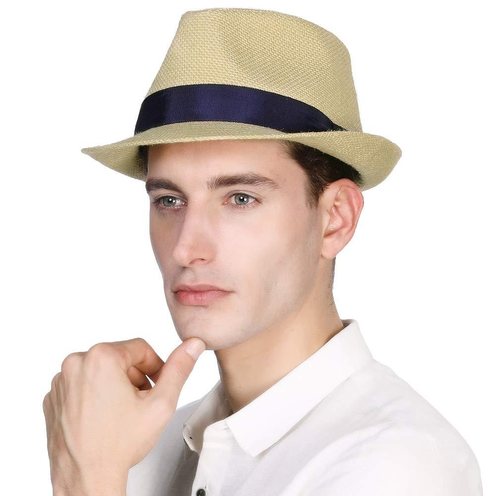 Womens Mens Straw Cuban Fedora Brim Panama Beach Havana Summer Sun Derby Hat Party Lady Beige Medium