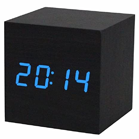 Reloj digital - TOOGOO(R) Reloj despertador / reloj de mesa digital de madera