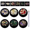 iFancer 6 Boxes Mixed Nail Art Rhinestones Gems Diamond Crystal Beads Nail Art Supplies Manicure DIY Kit 3D Nail Art Design Decoration