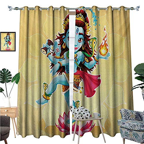 Yoga Room Darkening Wide Curtains Cute Eastern Figure for sale  Delivered anywhere in Canada