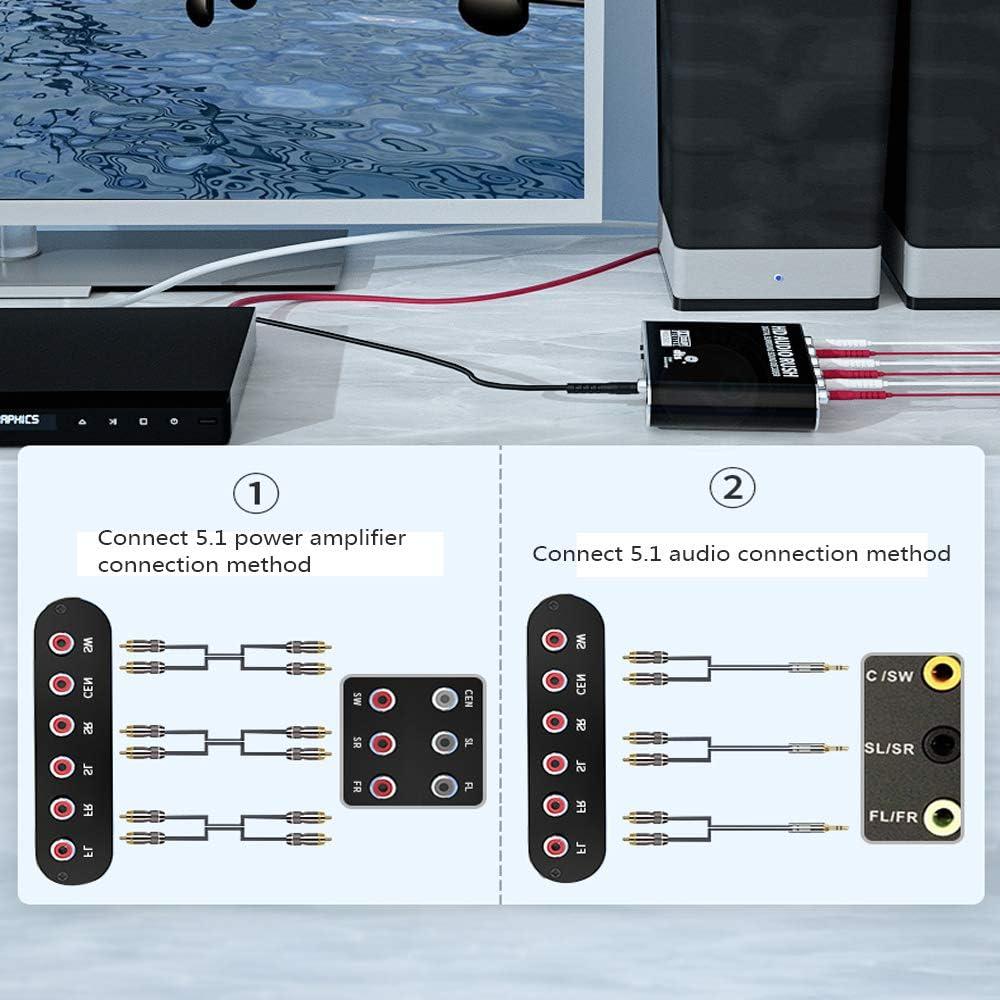 WJES Convertidor de Audio /óptico Digital Coaxial a Anal/ógico 5.1 Canales DTS Dolby AC-3 Decodificador de Audio TV a Audio